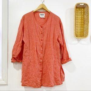 Flax 100% Linen Button Down Tunic Top Shirt